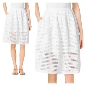 MICHAEL KORS // white eyelet lace full skirt sz 8